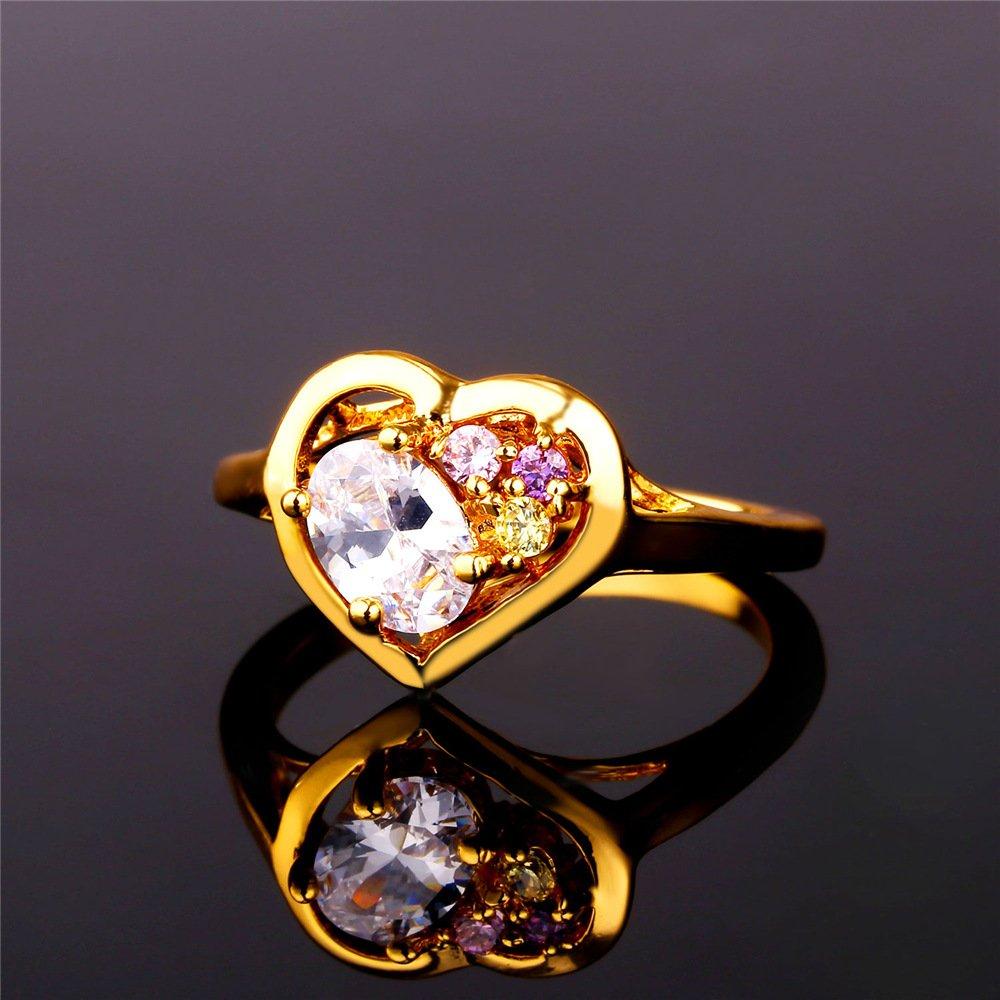 Dudee Romantic Cubic Zirconia Heart Ring Gold Color womens engagement rings fashion rings sterling silver