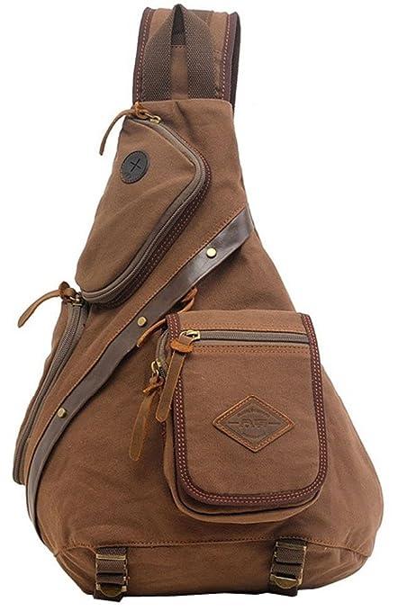 Valuker FH03-ka Sac en bandoulière pour homme vintage en toile sac avec garniture en cuir brun CHCPBlGE