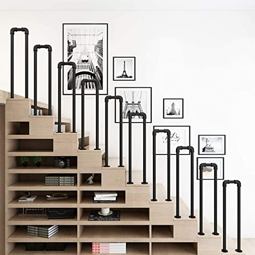 Pasamanos - Barandillas de Hierro Negro,pasamanos de Escaleras en Forma de U,instalación de Piso de Estilo Industrial,adecuados Para el Apartamento/ buhardilla,barandillas de Seguridad del Corredor: Amazon.es: Hogar