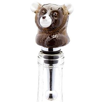 LS Arts – Black Bear Sitting tapón para botella de vino de cristal soplado