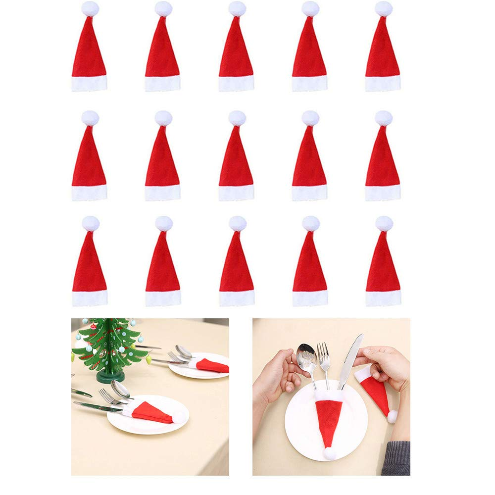 Christmas Tableware Storage, 2018 Christmas Decorations for Home Tableware Knife Fork Set Mini Sant (15Pcs)