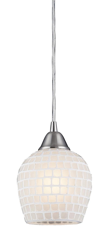 Elk 528-1WHT 1-Light Pendant In Satin Nickel and White Mosaic Glass by Elk B004HWUWKK ホワイト ホワイト