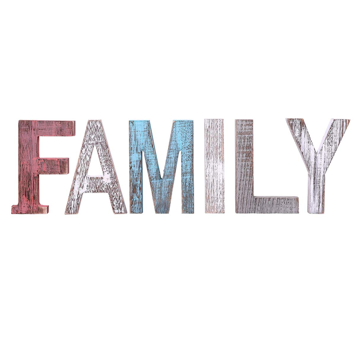 """Comfify """"Family"""" Decorative Wooden Letters – Large Wood Letters for Wall Décor in Rustic Blue, White and Grey – Rustic Home Decoration for Living Room - Rustic Home Décor Accents – Farmhouse Decor"""