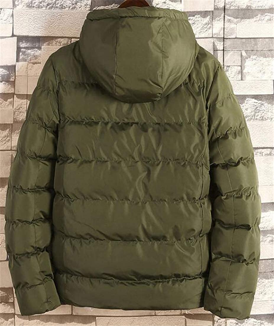 Wilngo Men Winter Hooded Thicken Warm Solid Full-Zip Padded Quilted Coat Down Jacket