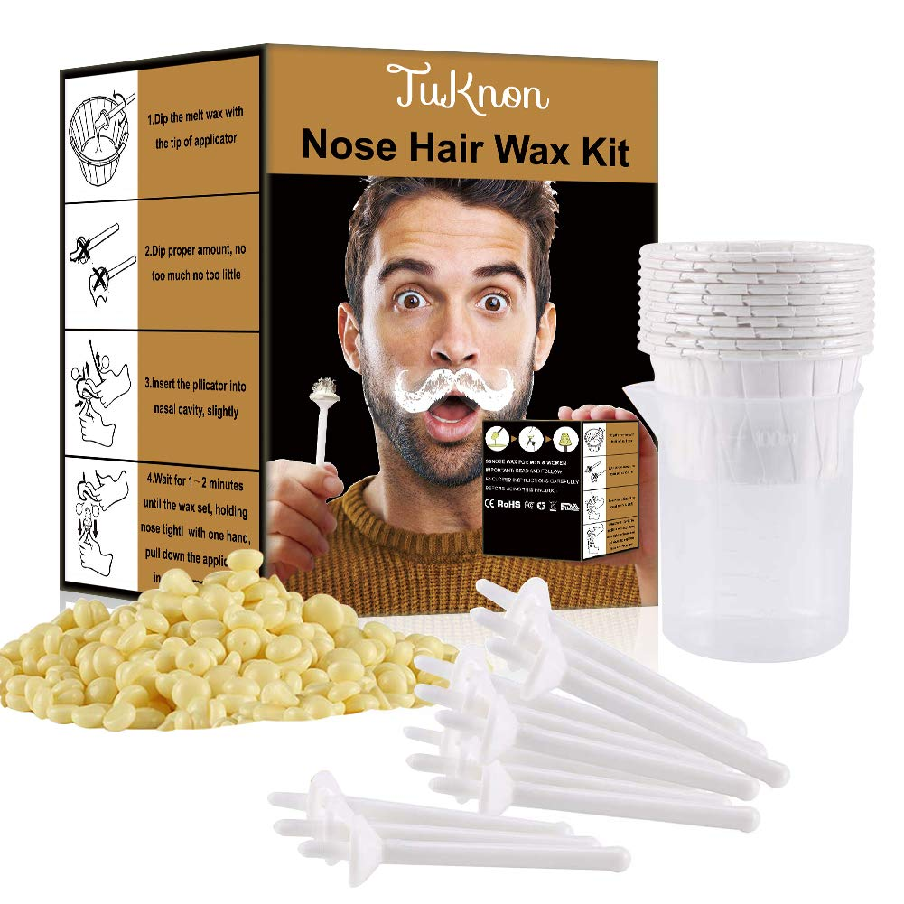 Nose Wax Nose Hair Wax Kit for Men and Women Nose Hair Removal Wax 50g Wax 20 Wax Applicators 10 Nose Wax Pod 1 Measuring Cup 8 Moustache Stencils