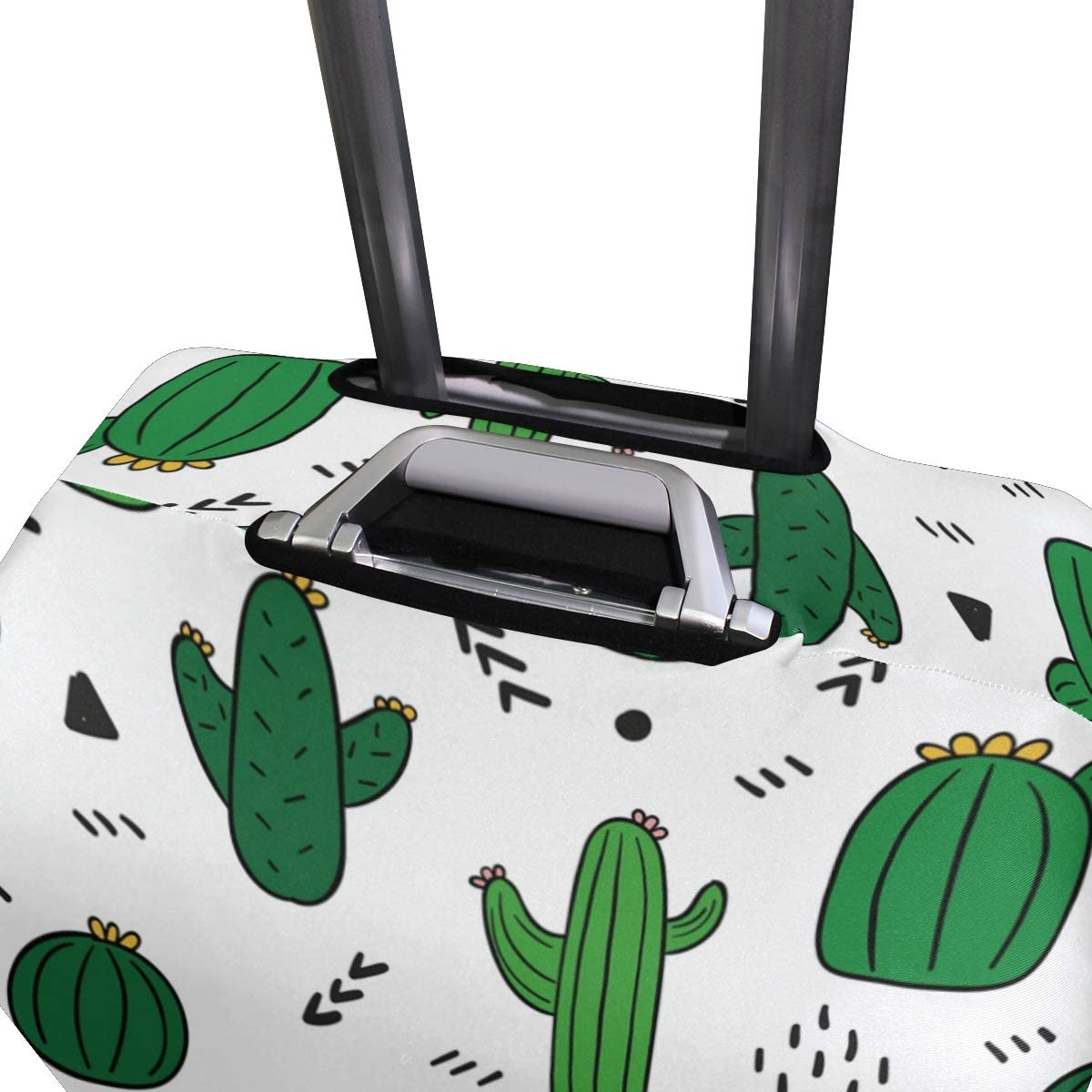 Travel Luggage Cover Hand Drawn Green Cactus Pattern Suitcase Protector