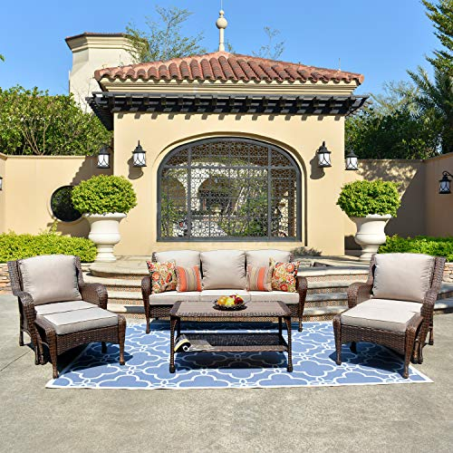 ovios Patio Furniture Sets,6 Pieces Rattan Wicker Sectional Sofa Deep Seating Conversation Set with 2 Pillow and Furniture Cover, All Weather, Backyard, Pool,Porch Garden (6 Piece, Beige)