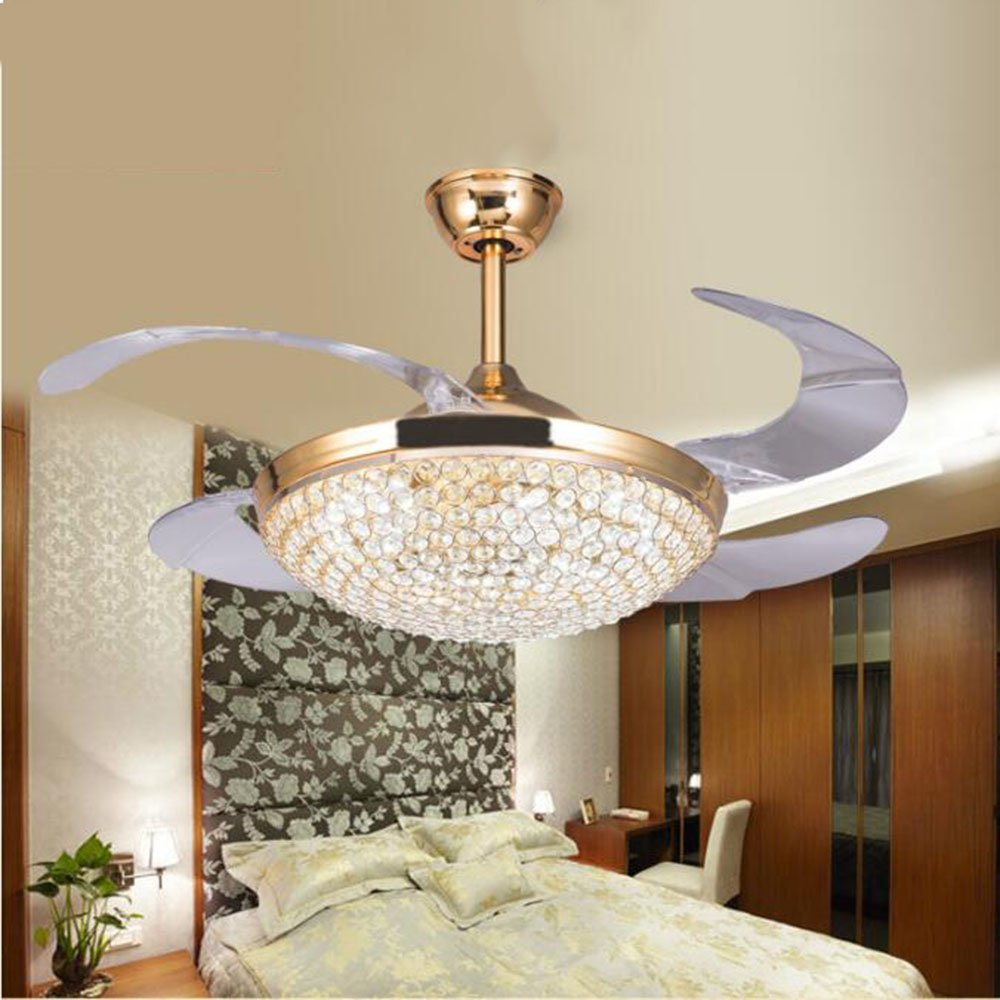 TiptonLight 42--inch Gold Crystal Ceiling Fan with Remote Control Has Three Change Colors Don't Support Dimming (42 Inch, Gold) by TiptonLight (Image #1)
