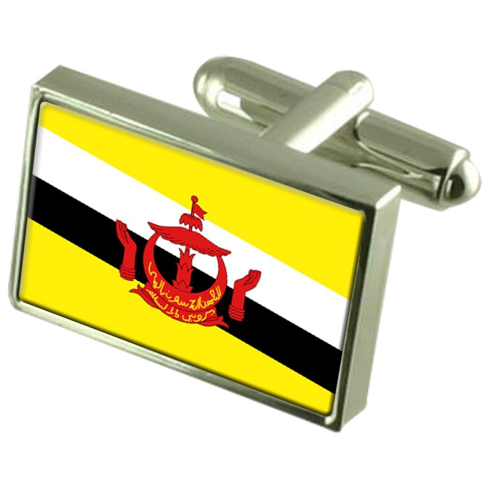 Brunei Sterling Silver Flag Cufflinks in Engraved Personalised Box