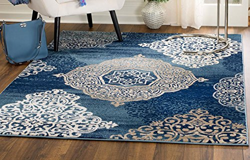 (MADISON COLLECTION VS-V45V-3 X 1N 406 Modern Abstract Blue Medallions Area Rug Clearance Soft and Durable Pile. Size Option , 7'.4