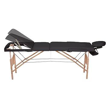 dibea MT00565, Mobile 3-Zonen Massagebank, Holzgestell (klappbar), Rückenlehne, höhenverstellbar, schwarz