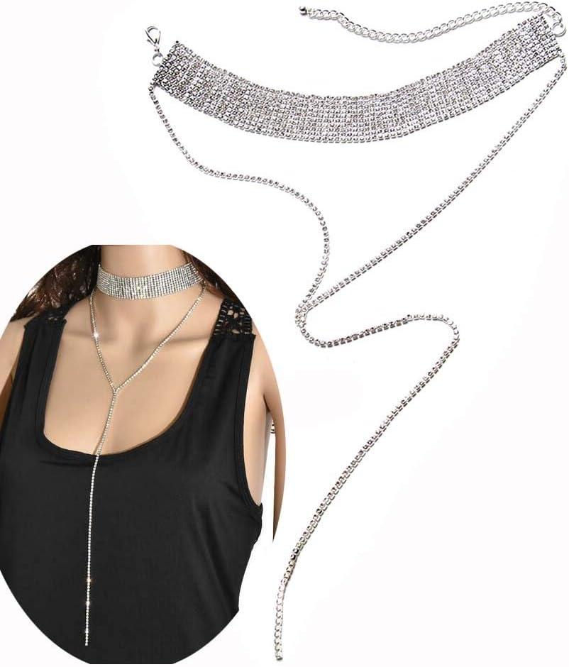 Daimay Gargantilla Ancha de Cristal de Diamantes de imitación con Colgante de Cadena Larga Collar de Diamantes Lariat Collar Y De Borla En Capas De Bohemia para Mujeres niñas - Plata