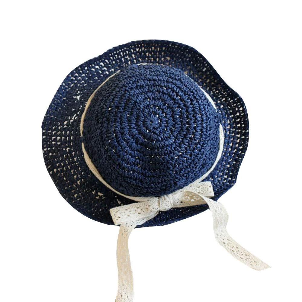 NingNing NN Children's Sun Hat - Baby Hat, Beach Straw Hat, Princess Hat, Sun Protection Sun Hat, Thin Summer Fisherman Hat Children's Outdoor Equipment (Color : Navy)