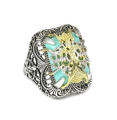 Italian Gold Rings Designs   Designer Vintage Ring Turquoise 18k White Gold Plated Man Made