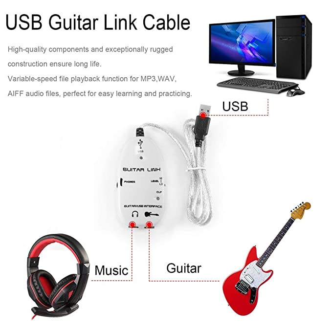 LoveOlvidoE Bass Guitarra Eléctrica a USB Interface Link Cable Audio Recorder Adapter A Ordenador para PC/para Mac Adaptador de grabación de música: ...
