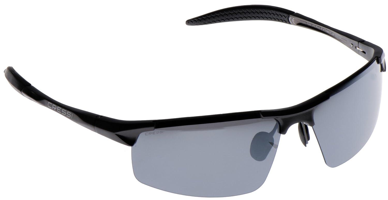 Cressi Cabrio Sonnenbrille, Glänzend Schwarz/Linsen Blau, Uni