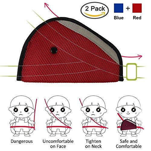 AK KYC 2 Pcack Car Seatbelt Adjuster for Kids   Seat Belt Cover   Safety Belt Strap Protector for Children   Baby Adult Shoulder and Neck Positioner Red + Blue