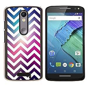 LECELL--Funda protectora / Cubierta / Piel For Motorola MOTO X3 3rd -- Blanco Universo púrpura rosada --