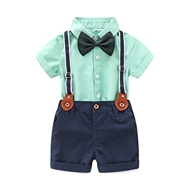 e69444208 Amazon.com  Baby Boys Short Sleeve Gentleman Outfits Suits Shirt ...