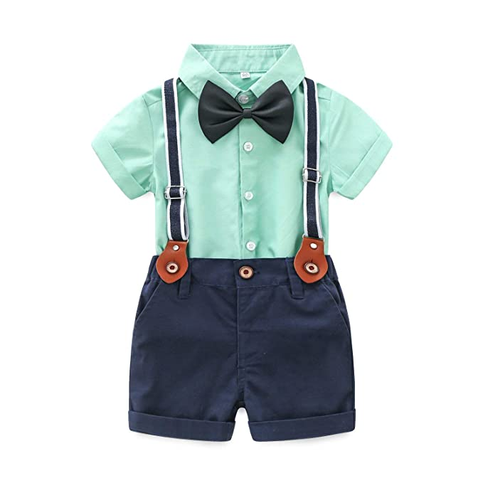 84467a6d6d36 Image Unavailable. Image not available for. Color  Baby Boys Short Sleeve  Gentleman Outfits Suits Shirt Suspender Pants with Bowtie Infant Overalls  Clothing ...
