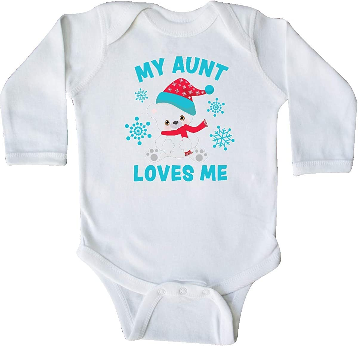 inktastic Polar Bear My Aunt Loves Me in Santa Hat with Long Sleeve Creeper