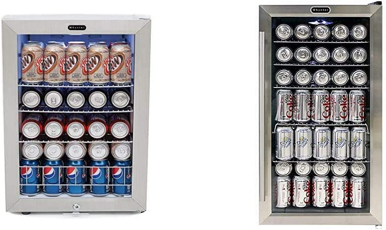 Whynter BR-091WS, 90 Can Capacity Stainless Steel Beverage Refrigerator with Lock, White & BR-130SB Beverage Refrigerator with Internal Fan, Black/Stainless Steel