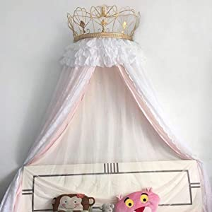 HOMEJYMADE Europe Royal Court Girls Bed Canopy,Dome Mosquito net for Kids Princess Pastoral lace Bed Canopy White-B