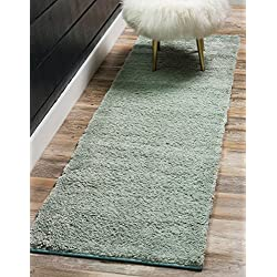 Unique Loom Solo Collection Plush Casual Light Blue Runner Rug (2' x 7')