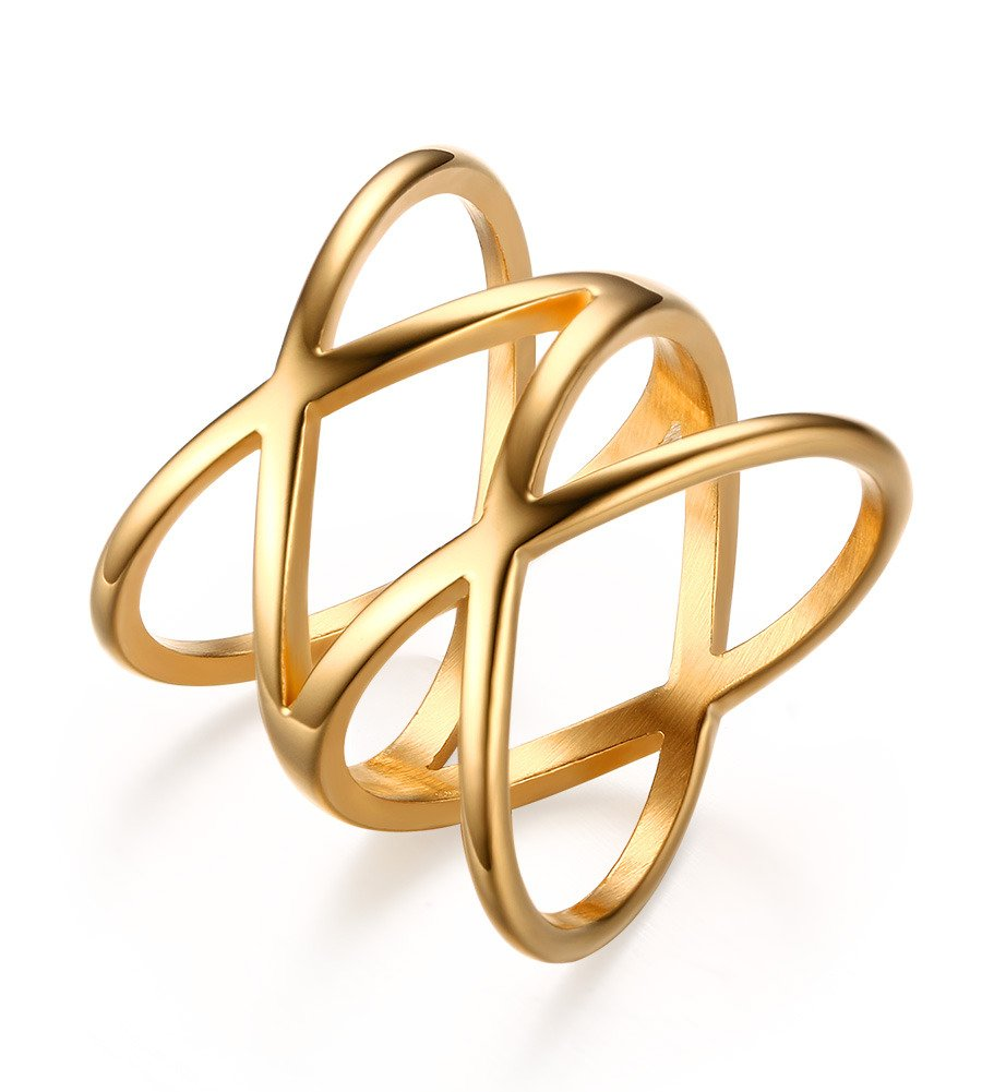 Mealguet Stainless Steel Gold Plated Double''X'' Criss Cross Statement Ring for Women,size 9