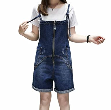 99f80af640 Elwow Women s Summer Plus Size Stretch Denim Pinafore Dungarees Shorts Dress  Jumpsuit
