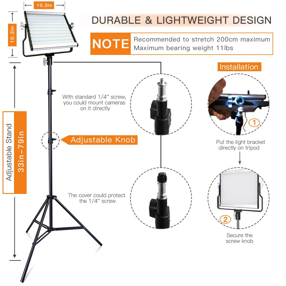 FOSITAN LED Video Light with 2M Stand Bi-Color 3960 Lux 200 SMD CRI 96+ U-Bracket LCD Display Metal Shell Video Lighting Kit for Studio Photography Shooting (2 Packs) by FOSITAN (Image #3)