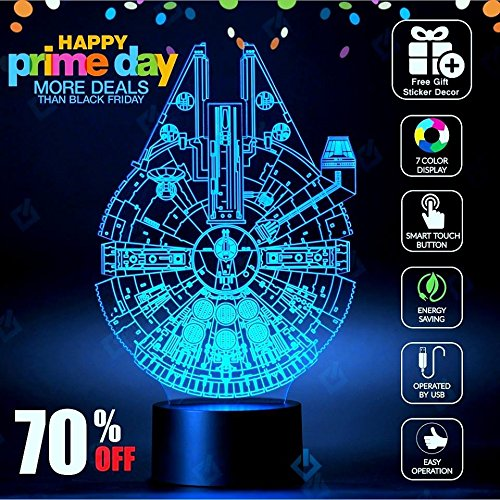 [Millennium Falcon Star Wars Lighting Gadget Lamp Decor Awesome Gift] (Red Black Cool Belt Buckle)
