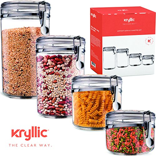 Food Storage containers canister set - Cereal Container Air Tight Canisters with lids for the dry flour coffee rice acrylic plastic clear glass airtight cannister sets for kitchen pantry organizer jar Clear Acrylic Canister Set