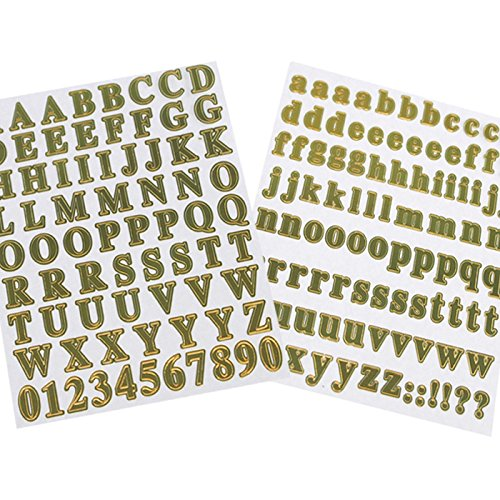 Homeford Firefly Imports Mini Alphabet & Number Foil Stickers, 179-Pack, Gold ()