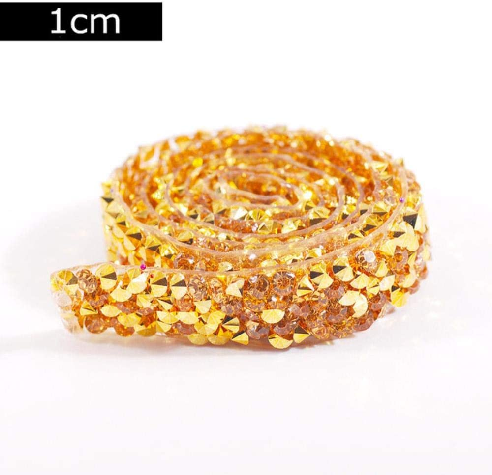 PENVEAT Arreglo Caliente/Autoadhesivo 80cm Crystal Rhinestones Sticker Tape Craft Glitter Gem DIY Stickers para Scrapbooking Arts Deco, Oro - 1cm