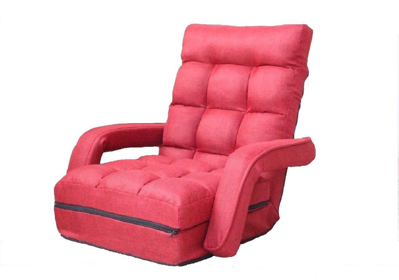 座椅子 ひじ付脚ラクチェア(レッド) 人気   B01LXZ8X9Y レッド レッド