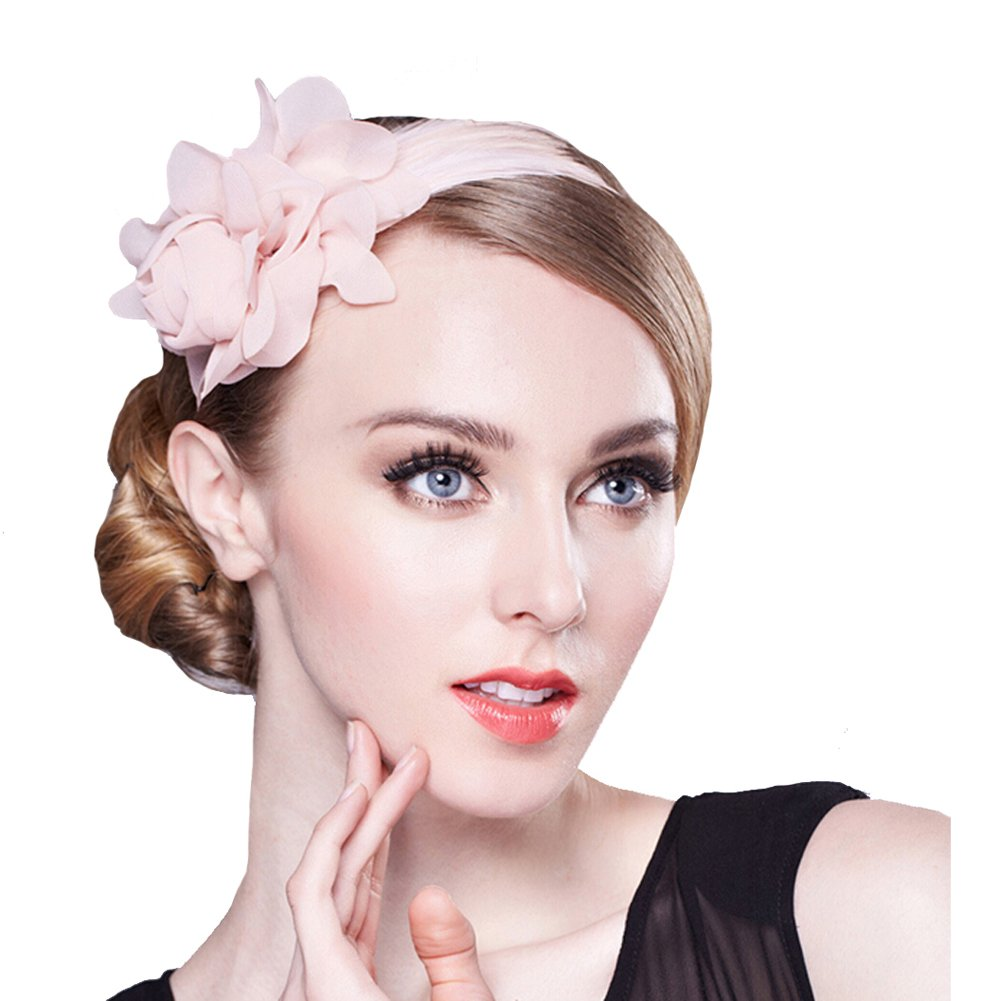 Urchart Women Fascinator Headband Bridal Lady Festival Party 3D Chiffon Flower Feather Hair Hoop