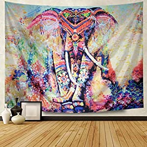 Amhokhui Tapestry Watercolor Elephant Tapestry Flower Psychedelic Wall Tapestry Indian Bohemian Tapestries Colorful Elephant Wall Hanging for Bedroom Living Room Dorms