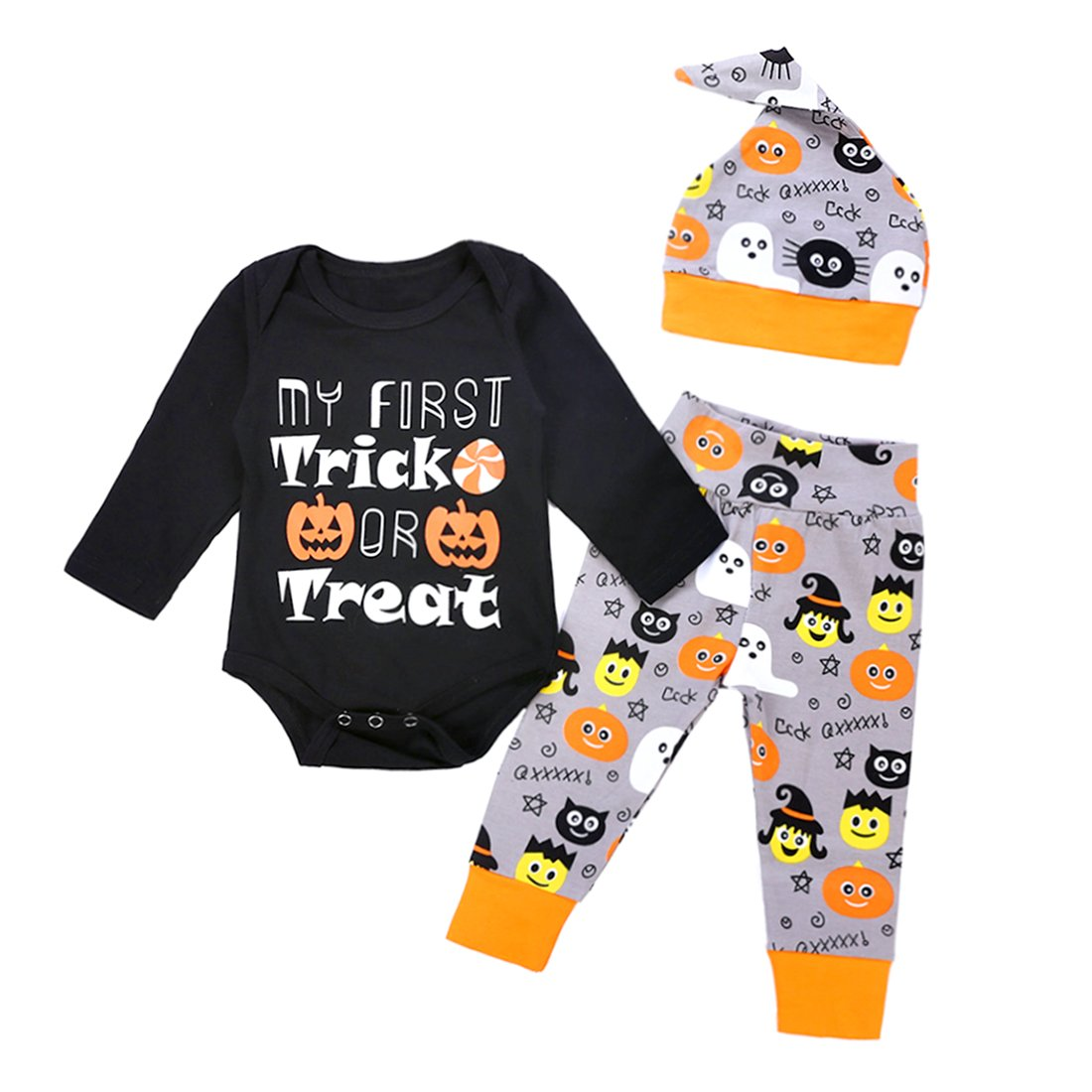 c0f3786a2 My First Trick Or Treat Super cute and funny printed, Best Christmas gift  for unisex baby, newborn set
