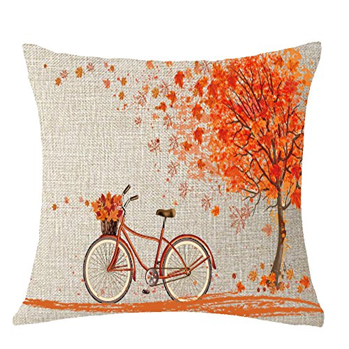 Happy autumn Fall Big tree Maple Leaf bicycle Throw Pillow Cover Cushion Case Cotton Linen Material Decorative 18