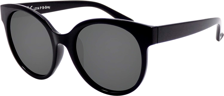 La Optica B.L.M. UV 400 CAT 3 Unisex Damen Frauen Sonnenbrille Rund Groß - Einzelpack Glänzend Schwarz (Gläser: POLARISIERT Grau)_LO14 P B-Grey: Amazon.de: Bekleidung - Sonnenbrillen 2020
