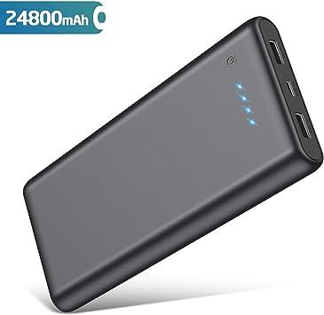 QTshine Batería externa compacto de alta capacidad con 2 USB de ...