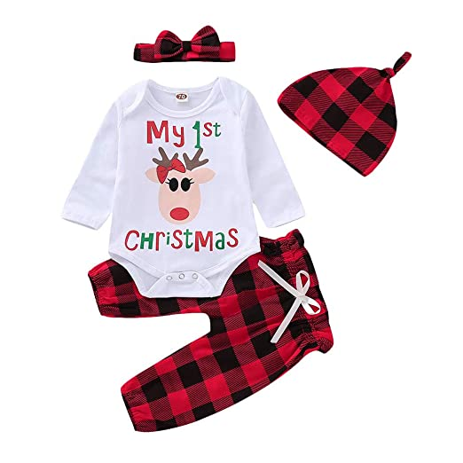 3751c7aa6dc3 Baby Girl Christmas Outfit My First Christmas Print Bodysuit Plaid Pants  with Headband and Hat 4Pcs