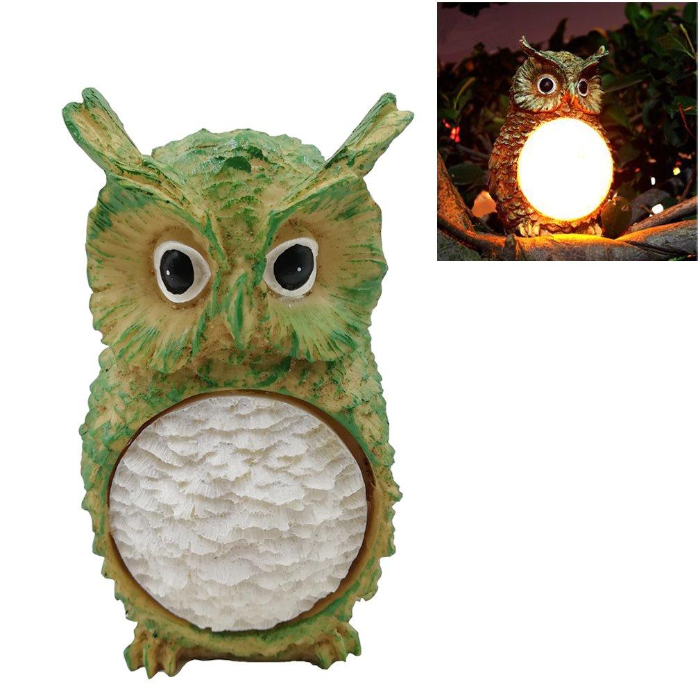 Luwint Solar Powered Owl Outdoor LED Garden Light - Wireless Waterproof Polyresin Statues Night Light for Yard Home Decor