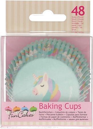 ideali per cupcake 48 pezzi muffin o brownies FunCakes FC4025 Pirottini per muffin e pirottini a forma di unicorno con rivestimento oleorepellente