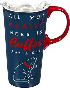 Ceramic Travel Cup, 17 OZ,w/box and Tritan Lid, Pet Pride, Cat