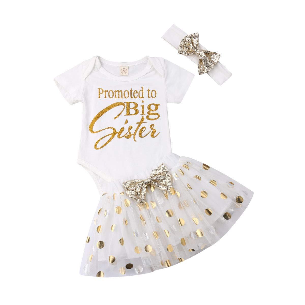 ae12e719f Amazon.com: 3PCS Baby Girls 1st Birthday Outfit Short Sleeve Romper Bodysuit  Tutu Skirt with Headband Set 0-24M: Clothing