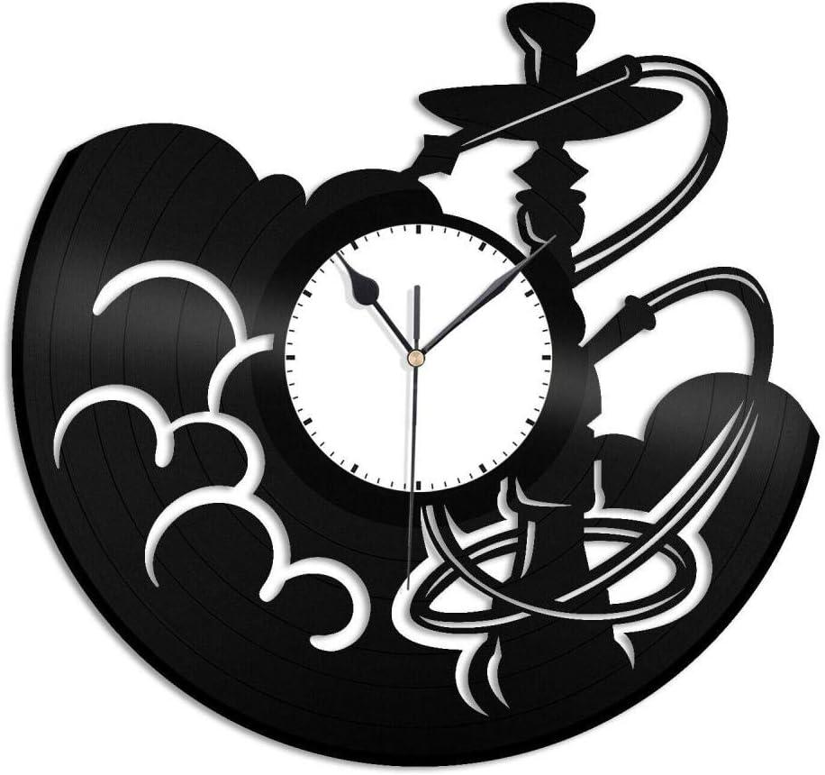 SKYTY Reloj De Pared De Vinilo con Humo De Cachimba-Reloj De Pared con Registro De Vinilo Retro, Regalo Fresco, Decoración del Hogar, con Luz Led
