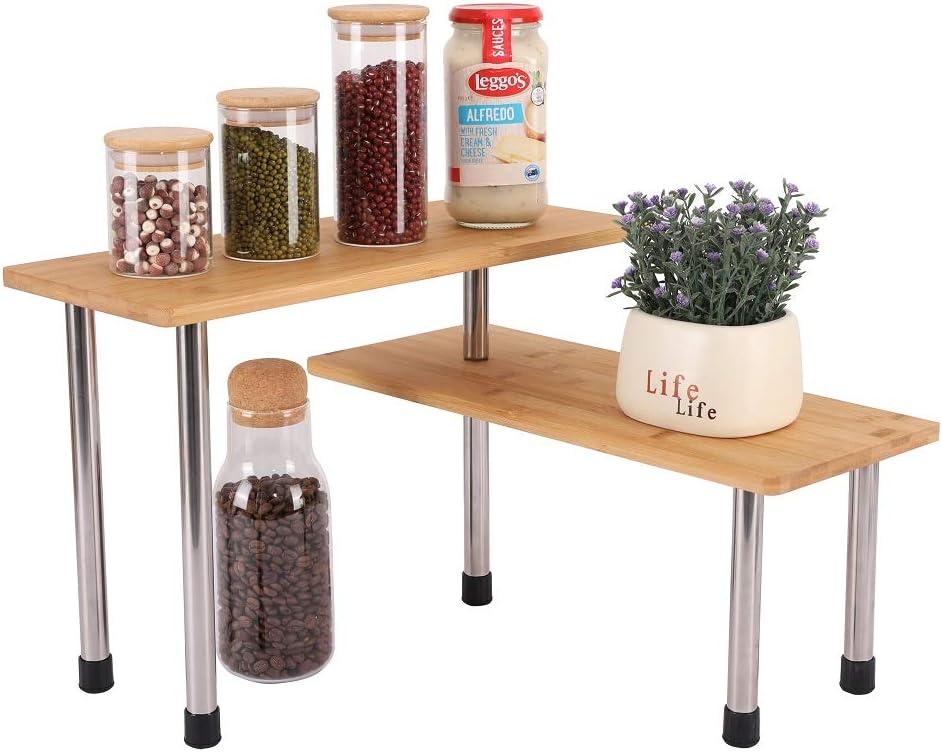 Venloup Corner Shelf Rack Kitchen Countertop Cabinet Organizer, 2 Tier Freestanding Bamboo Storage Shelves for Bathroom, Kitchen, Office and Living Room Bedroom