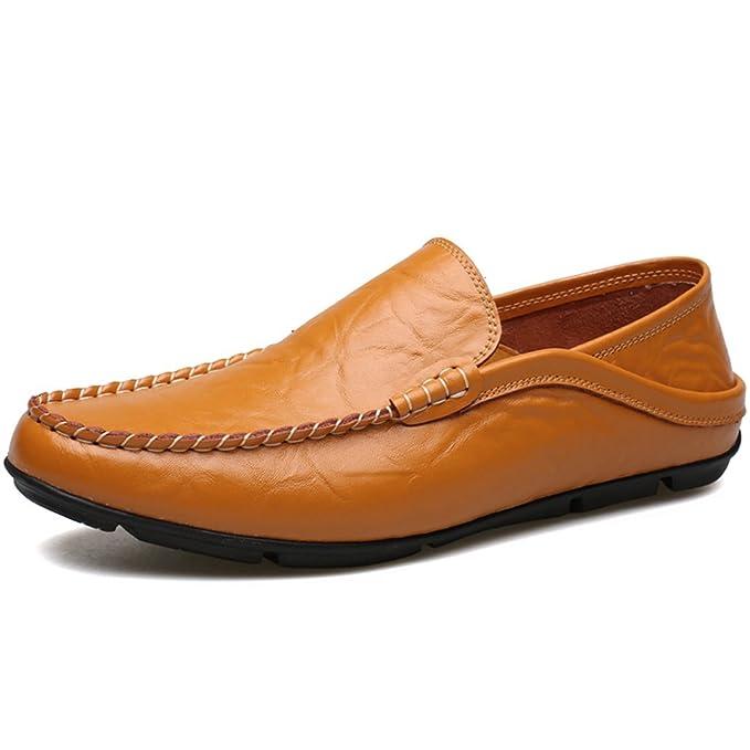 GOLDGOD Mocasines De Los Hombres Zapatos Casuales De Cuero Zapatos Inferiores Suaves Zapatos De Conducción Retro,Brown,40: Amazon.es: Ropa y accesorios